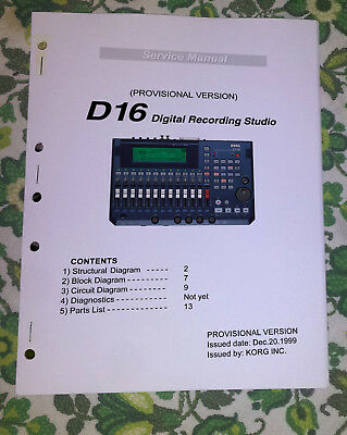 KORG D16 / D-16 Digital Recording Studio Service manual w/ schematics