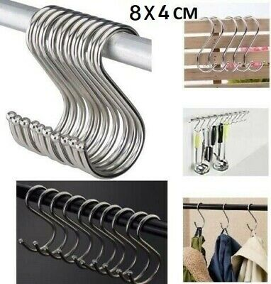 Stainless Steel S Hooks Kitchen Meat Pan Utensil Clothes Hanger Hanging 6.5X3 CM