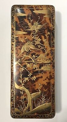 Japanese antique Tortoiseshell Gold Paint Lacquer box with Crane pattern Rare!!!