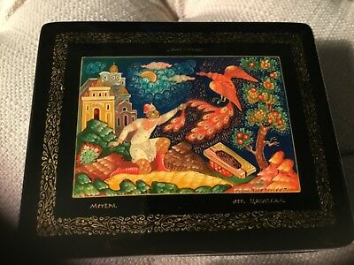 Russian Black Lacquer Box Called Firebird From Msteria Village With Coa