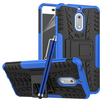 Heavy Duty Gorilla Shock Proof kick Stand Case Cover for Nokia 6  (BLUE)