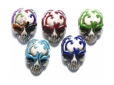 Shipwreck Beads 30 by 21mm Peruvian Hand Crafted Ceramic Skull Beads with Mas...