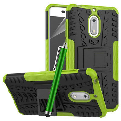 Heavy Duty Gorilla Shock Proof kick Stand Case Cover for Nokia 5 (Green)
