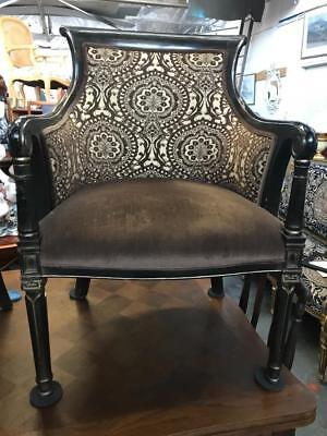 French Louis  Carved Armchair Reupholstered In Contrasting Velvet Fabric