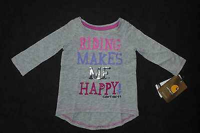 Carhartt Baby Girls Size 3 Months Riding Makes Me Happy T-Shirt/Tunic Hi-Lo Gray