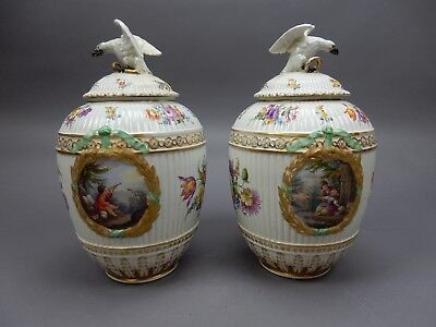 """Gorgeous Large Pair of Hand Pained Antique German Urns/ Vessels 13 """""""