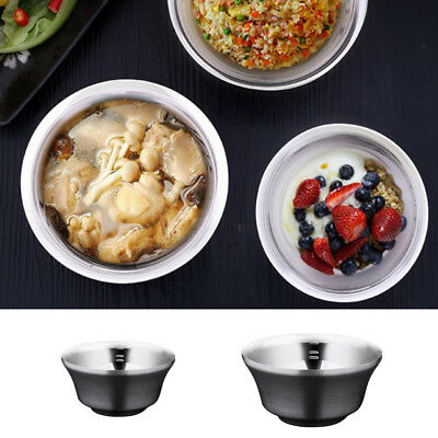 Stainless Steel Double Walled Ramen Noodle Soup Pasta Rice Fruit Bowl