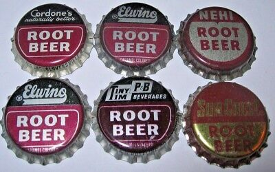 6 Root Beer Soda Bottle Caps; Nehi, Tiny Tim, Sun Crest, Elwino, Etc Unused Cork