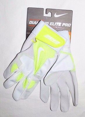 Nike Baseball Black Diamond Elite Pro Batting Gloves Men's White (Small) Nwt