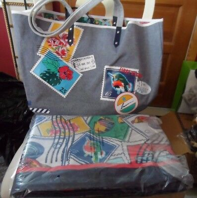 Vera Bradley Cuban Stamps beach towel and Oxford Postage stamps beach tote #2