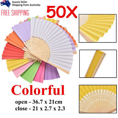 50x  Paper Bamboo chinese Hand Fan Wedding Party Dance Gift Signature Bulk