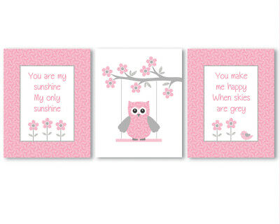 3 prints, baby girl nursery wall art, You are my sunshine quote, pink owl