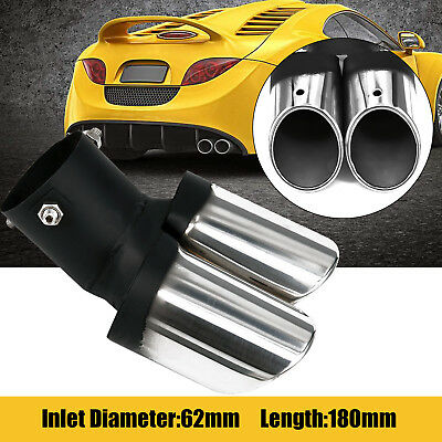 Universal Car Auto Stainless Steel Dual-Outlet EXHAUST Tail Muffler Tip Pipe New
