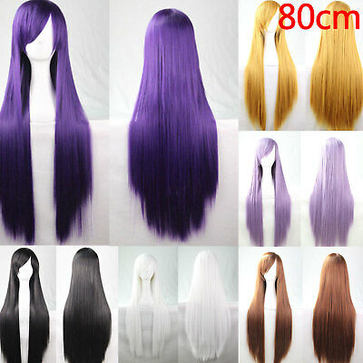Women Lady Synthetic Long Cosplay Wig Fancy Straight Hair Wigs with Bangs 80cm