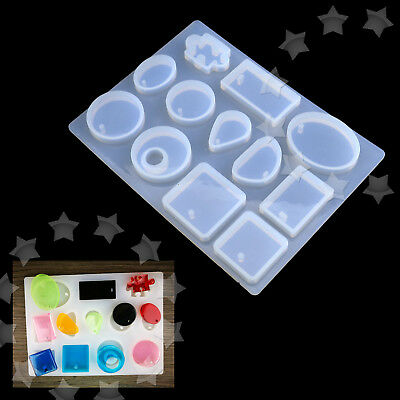 12 Blocks Soft Silicone Pendant Mold Jewelry Resin Necklace Mould Craft DIY Tool