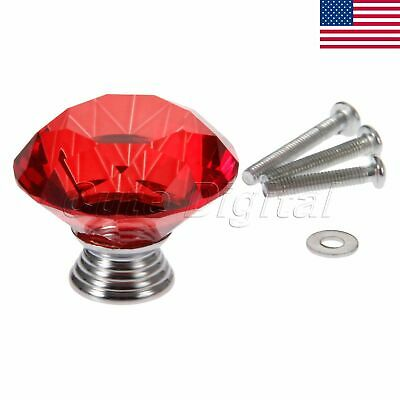 US STOCK Red Crystal Glass Diamond Knobs 30mm Cabinet Door Drawer Pull Handles
