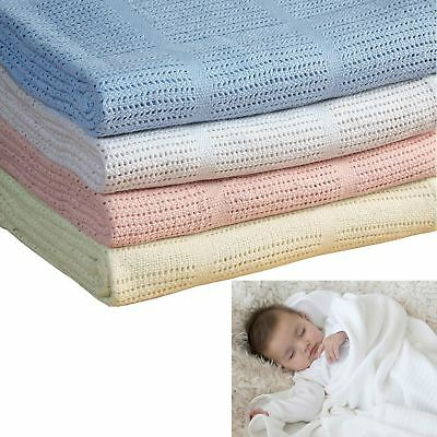 100% Cotton Baby Cellular Blanket Pram Cot Bed Moses Basket Crib 70 cm x 100 cm