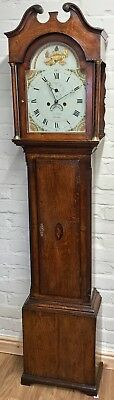 Antique Somerset 8 DAY Inlaid Oak Grandfather Longcase Clock : SULLEY of STOWEY