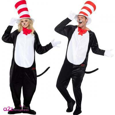 Dr Seuss Cat In The Hat Adult Mens Womens Official Fancy Dress Costume Book Week