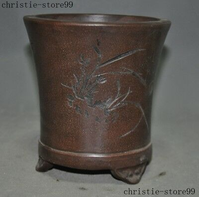 China Yixing Zisha Pottery Carved Orchid Calligraphy Flower Bonsai Potted Plants