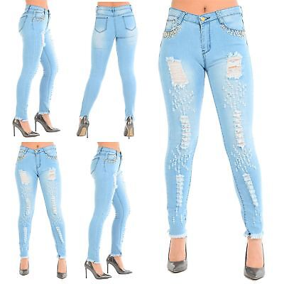 Womens Ladies Ripped Pocket Studded Faded Frayed Skinny Destroyed Denim Jeans