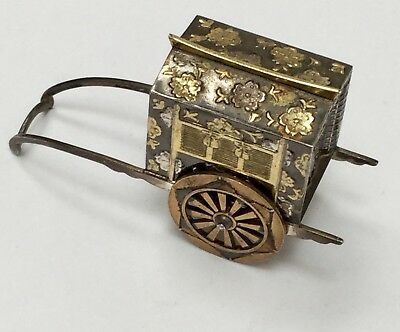 Stunning Antique Solid Silver Japanese Rickshaw With Niello Design