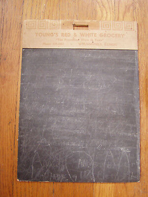 Red & White Grocery Williamsfield IL Young's shopping list chalkboard vintage