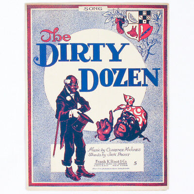 Black Americana Sheet Music THE DIRTY DOZEN by Clarence M. Jones & Jack Frost