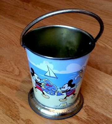 Vintage 1960'S Disney Tin Litho Mickey Mouse Donald Duck French Sand Pail