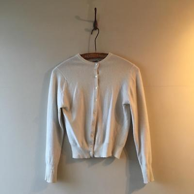 True Vintage 1950s/60s White Cream 100% Cashmere Wool Cardigan XS S 6 8 10
