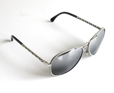 89a0e54278 Chanel Aviator Pilot Sunglasses Silver Gray Leather Frame Laced Arms 59mm