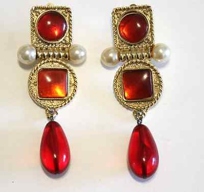 e8009a36ef5bbb Vintage Chanel Red Gripoix Drop Dangle Earrings Gold Tone Pearl Clip On