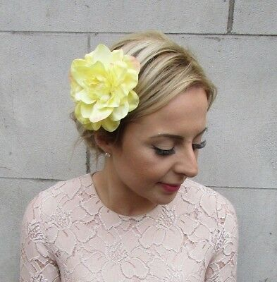 Large Yellow Dahlia Flower Hair Clip Rose Fascinator Bridesmaid Floral Boho 5413