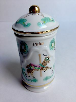 Lenox Porcelain Spice Jar CHIVE, Carousel Collection, 1993, Ram, Green