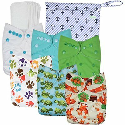 Washable Reusable Baby Cloth Pocket Diapers 6 pack + 6 Bamboo Inserts