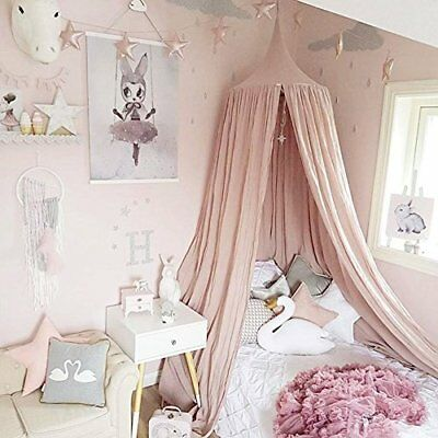 Princess Bed Canopy Mosquito Net for Kids Baby Crib  Pink
