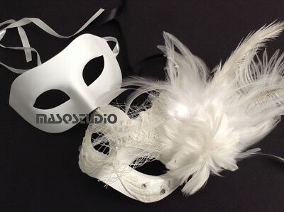 Couple White Dress Masquerade mask Feather Birthday School Prom Bridal Party NEW
