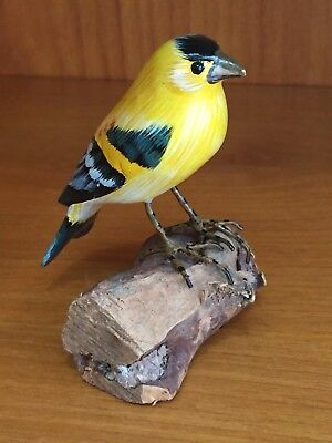 """Goldfinch on a branch Handmade Handpainted Finch 3"""" tall"""