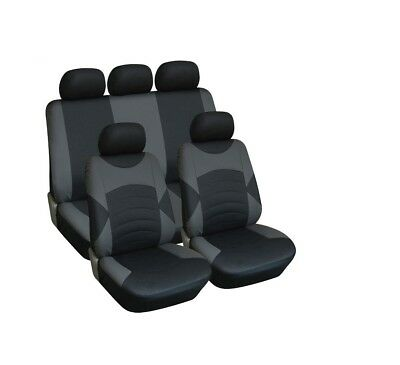 Luxury Black & Grey Leather Look Seat Cover Set For Ford S Max (11+)