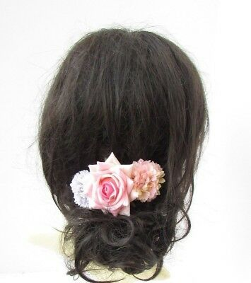 Grey Blush Light Pink Rose Flower Hair Comb Bridesmaid Wedding Fascinator 5418