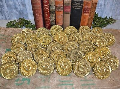 "One Vintage Large Heavy Brass 3"" Ornate Door Drawer Knobs French Style Acanthus"