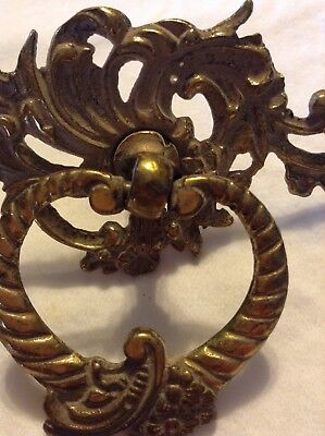 """Vintage Brass Drawer Plate With Pull Ring Ornate 3 3/4"""""""