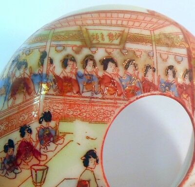 Antique JAPAN Hair Receiver Trinket BOX GEISHA Girls MEIJI KUTANI Signed