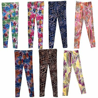 NEW Girls Leggings Kids Full Print Trousers Ankle Length Harem Pants 7-13yrs #80