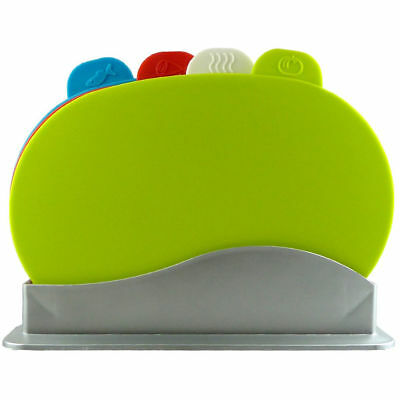 5Pcs Oval Cutting Board Set  Green ,  White ,  Red , Blue With Silver Stand