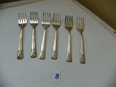 Set Of 6  Embassy Silver Plate Salad Forks  1939   6 Inch