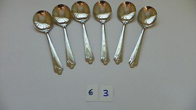 Set Of 6   18/8  Gumbo? Round Soup Spoons Stainless  Flatware U.s.a.
