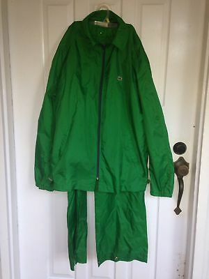 Izod Lacoste Vintage Track Suit Size Large Green Nylon Rain Alligator Crocodile