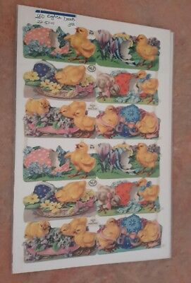 LIthograph Die Cut Paper Scraps Made In England Chicks Eggs Easter Vintage