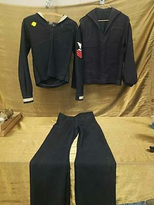 WW II WW2 Era Navy Sea Cadet Uniform 3 Pc Set - Good condition with Patches